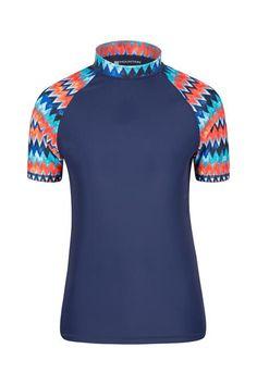 Size Age 7-13 GUL Junior Girls Short Sleeves Rash Vest High Neck Top Uv 40