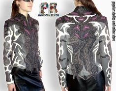 Jackets Made-to-Order and Sold! - Exclusive leather jackets&blazers. Women's clothes leather jackets from real python skin,genuine crocodile (alligator) hide skin, suit, coat, vest, dress of leather. Luxury Sheepakin. Mittens&Earmuffs fur red/silver fox, mink. Shop for jackets. Costumes for movie stars, concert, dance, show. Make to order luxury leather clothing.