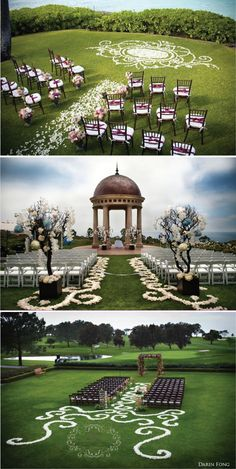If it is within your budget, instead of using a traditional aisle runner, consider having fresh flower petals instead! These are just a few creative designs ...