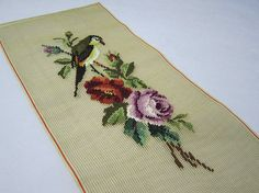 Preworked Needlepoint Canvas Bird and Flowers Design Finished
