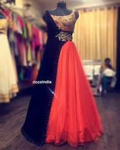 Indo western outfit with half detachable jacket lehenga Indian Wedding Gowns, Indian Gowns Dresses, Pakistani Dresses, Indian Outfits, Evening Dresses, Wedding Dresses, Saree Gown, Lehnga Dress, Gown Party Wear