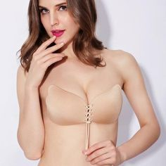 2404bce47ffa2 Yichaoyiliang Women Invisible Drawstring Strapless Bra Wedding Party Sexy  Small Girl Push Up Self Adhesive Fly Silicone Bra