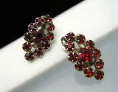 Vintage Red Rhinestone Clip Earrings Lovely Sparkle  - Found on Lookza.com