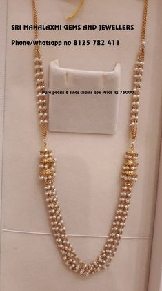 Necklaces Simple pearl chain designs - Pretty Pearl Pieces You Should Own! Pearl Necklace Designs, Jewelry Design Earrings, Gold Jewellery Design, Bead Jewellery, Pearl Jewelry, Gold Necklace, White Pearl Necklace, Diamond Jewellery, Collar Necklace