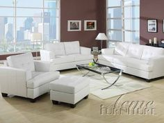 This sofa features a white bonded leather construction. This elegant sofa offers a contemporary style with wooden legs. White Sofa Set, Modern White Living Room, Leather Living Room Set, Leather Living Room Furniture, Elegant Living Room, Small Living, Black Sofa, Cozy Living, Living Room Sets