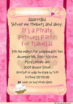 Idea for Pirate Invitation Skull & Crossbones Black Accent Photo . 5th Birthday Party Ideas, Pirate Birthday, Pirate Party, Girl Birthday, Pirate Invitations, Pink Invitations, Baby Shower Invitations, Invite, Baby Shower Princess