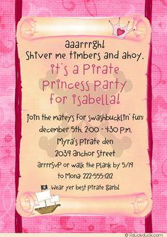 Girl Pirate Birthday Party | Girl's Pink Pirate Invitation Skull & Crossbones Black Accent Photo ...