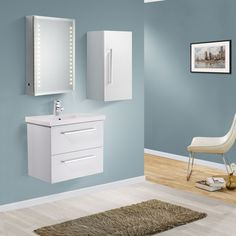 NAPOLEON 600mm Wall Hung White Gloss Basin Vanity Unit + Side Cabinet
