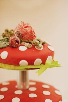 red and white polka dot wedding cake