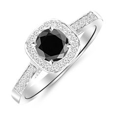 Carat Graduating Classic Cushion Halo Prong and Pave-Set Diamond Engagement Ring White Gold with a 2 Carat Round Cut AAA Quality Black Diamond (Heirloom Quality). Side Diamonds on Engagement Rings are G-H Color Clarity. Engagement Rings Under 1000, Different Engagement Rings, Engagement Ring Styles, Vintage Engagement Rings, Black Diamond Bands, Mens Diamond Wedding Bands, Tanzanite Engagement Ring, Diamond Engagement Rings, Traditional Engagement Rings