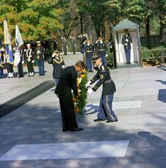 """President John F. Kennedy Lays a Wreath at the Tomb of the Unknown Soldier as part of Veterans Day Remembrances, Arlington National Cemetery, Arlington, Virginia, 11/11/1961 """" Series: Robert Knudsen White House Photographs, 1/20/1961 - 12/19/1963...."""