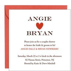 Heart Couples Shower Invitation