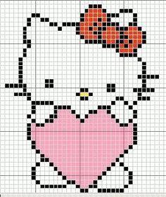 Knit Diva: Hello Kitty Dishcloth Pattern would also work as a cross stitch pattern. Crochet Hello Kitty, Chat Hello Kitty, Cross Stitch Baby, Cross Stitch Charts, Cross Stitch Patterns, Crochet Pixel, Crochet Chart, Crochet Baby, Free Crochet