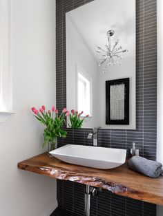 Bathroom Design, Charming White Captivating Modern Powder Room Sinks Design Also Natural Wood Sink Top Also Gray Minimalis Tile Floor Also Mod Mirror Without Frame Also Modern Faucet And Soap Dispenser Also Glass Vase: Powder Room Decorating Ideas at Your Home