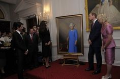 The Duke and Duchess of Cambridge unveiled a new portrait of the Queen by New Zealand artist Nick Cuthell.  April 10, 2014.