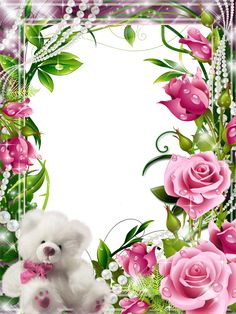 Transparent Frame with Pink Roses and White Teddy