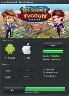 Resort Tycoon Hack - Android and iOS Game Cheats  http://downcheats.com/resort-tycoon-hack-android-and-ios-game-cheats/