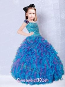 Cute One Shoulder Beading Little Girl Pageant Dresses - Quinceanera 100