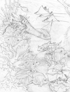 Bergsma Gallery Press :: Paintings :: Originals :: Original Sketches :: 2014/Reef - Original Sketch