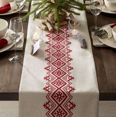 Diy Crafts - This casual, understated table runner accents the table with natural materials and embroidery inspired by Scandinavian folk art. Folk Embroidery, Christmas Embroidery, Cross Stitch Embroidery, Hand Embroidery Patterns, Embroidery Designs, Cross Stitch Borders, Cross Stitch Designs, Cross Stitching, Cross Stitch Patterns