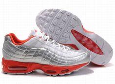 082059562a Nike Air Max 95 Mens Running Shoe White Silver Orange Air Max 95 Mens, Air
