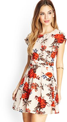FOREVER 21 Nature-Inspired Skater Dress - dress for pear bodyshape #pearbody