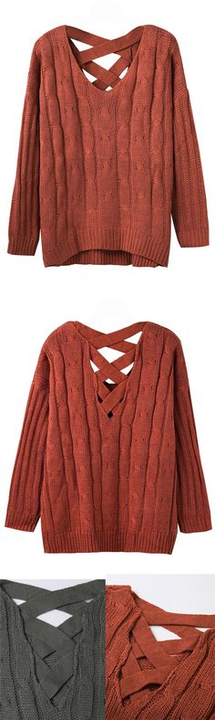 Knit jumper, with cable cross back design, new arrival piece. Knit items should not be absent in fall styls. Come to mynystyle.com, find more new arrivals.