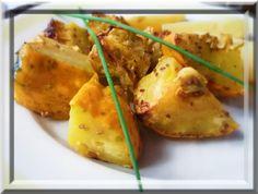 Patizony omyjeme a nakrájíme na větší kostky. Remosku vymažeme sádlem, vložme patizon, osolíme ho, posypeme kmínem, pokapeme sádlem a upečeme... Potato Salad, Potatoes, Chicken, Meat, Vegetables, Ethnic Recipes, Food, Potato, Essen