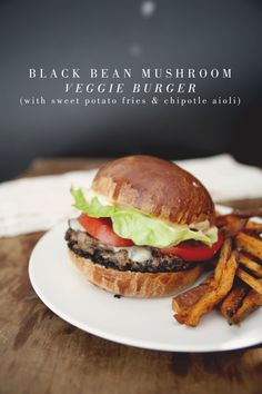 meatless monday - black bean mushroom veggie burger (with sweet potato fries & chipotle aioli), vegetarian tortilla soup (with avocado & cilantro), asian broccoli slaw (with miso & sesame dressing) Veggie Recipes, Whole Food Recipes, Vegetarian Recipes, Cooking Recipes, Healthy Recipes, Veggie Food, Veggie Dishes, Food Food, Cooking Tips
