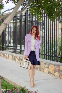 Outfit of the Day wearing Flounce Hem Skirt, embellished 3D top, Lavender Coat via @Glamourzine