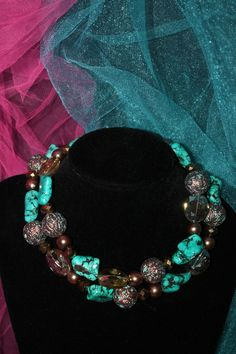 Sass N' Stones - Turquoise and Copper Double Strand, $48.00 (http://sass-n--stones.mybigcommerce.com/turquoise-and-copper-double-strand/)