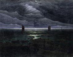 Caspar David Friedrich, Sea shore in moonlight, 169.2 × 134 cm - 1835/36. on ArtStack #caspar-david-friedrich #art