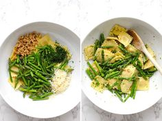 This easy ravioli dish with sautéed asparagus and walnuts is tossed in a light and flavorful butter lemon sauce. A quick and delicious dinner that only takes 15 minutes to make. Vegetarian Recipes Easy, Easy Dinner Recipes, Healthy Recipes, Dinner Ideas, Easy Meals, Saute Asparagus, Asparagus Recipe, Easy Pasta Salad Recipe, Pasta Recipes
