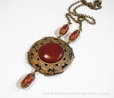 Handmade vintage style Neo-Victorian medallion necklace with carnelian and antique brass by BeataViscera Design. www.beataviscerajewelry.com