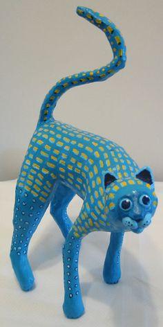 """Бумага Mache` Исполнитель Марджори Уилкинс Бирюзовый Cat $ 75.00 10 """"высотой на спине"""