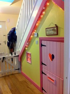 Wendy House under stairs Under Stairs Playroom, Under Stairs Playhouse, Space Under Stairs, Indoor Playhouse, Build A Playhouse, Small Playroom, Playhouse Ideas, Playroom Ideas, Cubby Houses