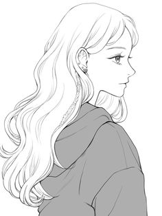 Girl Hair Drawing, Anime Drawings Sketches, Cool Art Drawings, Anime Sketch, Cartoon Drawings, Anime Art Girl, Manga Art, Cute Art, Pretty Art