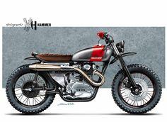 "Racing Cafè: Cafè Racer Concepts - Yamaha XS 650 ""Scrambler"" by Holographic Hammer nice paint Style Cafe Racer, Cafe Racer Bikes, Cafe Racer Motorcycle, Moto Bike, Motorcycle Design, Bike Design, Motorcycle Parts, Enduro Vintage, Motos Vintage"