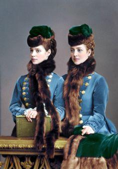 "Empress Maria Feodorovna ""Dagmar"" of Russia with her sister Queen Alexandra ""Alix"" of the United Kingdom - 1873 Czar Nicolau Ii, Queen Victoria Family, Victoria Prince, Tsar Nicolas, Alexandra Of Denmark, Maria Feodorovna, Princess Alexandra, Danish Royals, English Royalty"