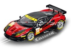 "The Carrera Ferrari 458 Italia GT2 ""AT Racing No.56"" Slot Car, is a superbly detailed Carrera Evolution race car for use on any 1/32 analogue slot car layout."