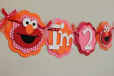 Elmo Pink Red and Orange High Chair Banner by PaisleyGreer on Etsy, $12.50