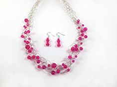 Pink Statement Necklace, Bib Necklace, Hot Pink Necklace, Pink Earrings, Bead Necklaces, Birthday Gifts for Girlfriend, Dainty Earrings