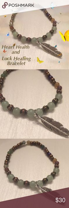 Heart Health and Luck Healing Bracelet Aventurine is said to help with heart health as well as being a good luck charm.The bracelet is made with good quality seed beads.Aventurine beads,Agate beads,and a silver feather charm make up this bracelet. Please note the beads are natural stone and will differ in color and tone. No two bracelets will be identical. Each bracelet comes with a card to explain the meaning of the stones. Boho Gypsy Sisters Jewelry Bracelets