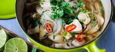 A steaming bowl of Thai Chicken Noodle Soup infused with lemongrass and ginger. A healthy, low fat, gluten-free meal, full of amazing Thai flavors! Healthy Soup Recipes, Entree Recipes, Asian Recipes, Ethnic Recipes, Yummy Recipes, Recipies, Thai Chicken Noodles, Asian Noodles, Chicken Soup