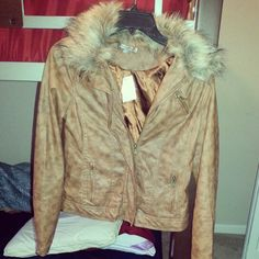 Leather fur jacket I think I'm in love
