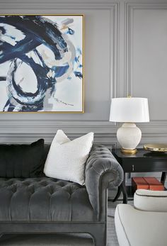 Classic grey tufted sofa | Redo Home + Design