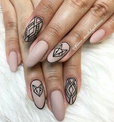 Nails Art Geometric Fox 29 Ideas For 2019 Matte Nails, My Nails, Long Round Nails, Romantic Nails, Fall Nail Art Designs, Diva Nails, Geometric Nail, Fabulous Nails, Creative Nails
