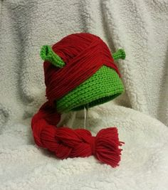 Crocheted Princess Fiona Hat, Handmade, for Her, Youth to Adults Crochet Cap, Crochet Beanie, Cute Crochet, Crochet For Kids, Crochet Crafts, Yarn Crafts, Crochet Projects, Crochet Wigs, Crocheted Hats
