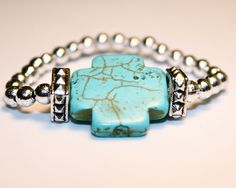 Turquoise Cross Stretch Bracelet