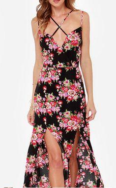 floral double slit maxi dress #spring #florals